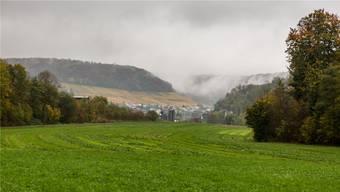 Zwischen Surb (versteckt durch Bäume) und der abfallenden Böschung ist die Deponie Buchselhalde geplant.