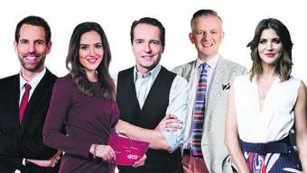 Sind beliebte Aushängeschilder des Schweizer Fernsehens: Arthur Honegger, Patrizia Laeri, Florian Inhauser, Rainer Maria Salzgeber und Annina Frey.