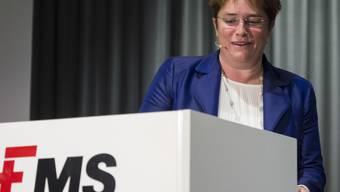 Kann mit den Halbjahresresultaten zufrieden sein: Ems-Chefin Magdalena Martullo-Blocher an der Bilanzmedienkonferenz im Februar.
