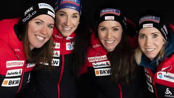 Eine verschworene Einheit: Die Schweizer Biathletinnen Lena Häcki, Aita, Selina und Elisa Gasparin wollen in der Staffel eine weitere starke Leistung zeigen