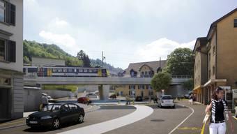 So soll sich der Kreisel bei bei der Einfahrt Burghaldenstrasse präsentieren.