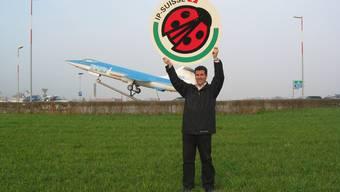 Daniel Fischer, Präsident des Organisationskomitees des Landwirtschaftszeltes mit dem Logo von IP-Suisse