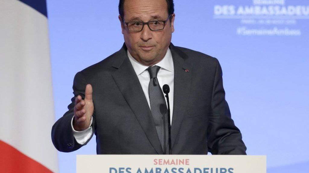 Frankreichs Präsident François Hollande während seiner Rede vor den französischen Botschaftern am Dienstag in Paris.
