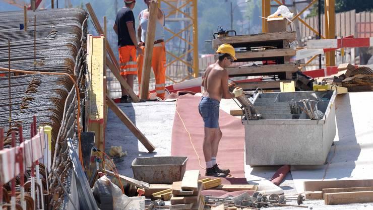 Bauarbeiter auf der H2-Baustelle beim Abschnitt Schöntal