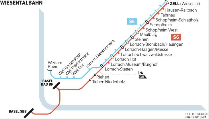 Zwischen Lörrach Brombach und Steinen soll eine Haltestelle für das neue Klinikum entstehen, eine weitere an der Grenze.