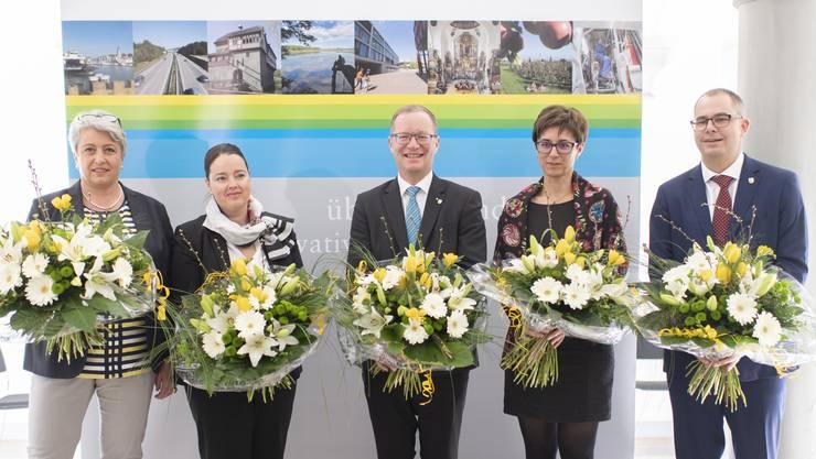 Der Thurgauer Regierungsrat: Cornelia Komposch (SP), Carmen Haag (CVP), Walter Schönholzer (FDP), Monika Knill (SVP) und Urs Martin (SVP, v.l.).