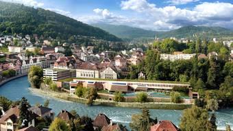 So wird das neue Thermalbad in Baden aussehen, das Architekt Mario Botta entworfen hat. Die Bauzeit beträgt rund 24 Monate.