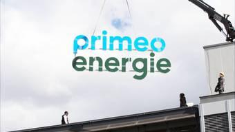 SONY DSC Die Elektra Birseck Münchenstein heisst ab 26. März Primeo Energie. Am EBM-Hauptsitz wurde am Vormittag das Logo ausgewechselt.