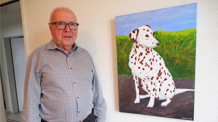 «Manchmal ist man eben der bessere Hundefreund, wenn man keinen eigenen Hund hält»: Otto Rauch hat seine Hündin Tosca auf einem Bild verewigt.
