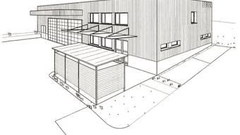Modellskizze des künftigen Feuerwehrmagazins, das das Investitionsbudget der Gemeinde belastet.