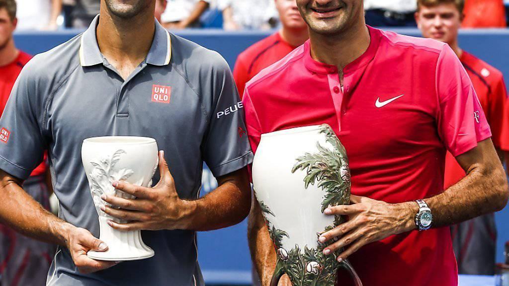 Djokovic und Federer - hier in Cincinnati - stehen sich erneut in einem Final gegenüber