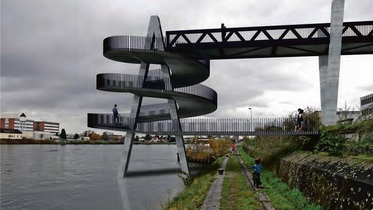 Die Architektur-Studenten der Fachhochschule Nordwestschweiz reichten sehr kreative Ideen ein. Diese ist wohl wegen der Schifffahrt nicht realisierbar.