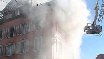 Löscharbeiten der Feuerwehr in St. Gallen
