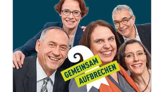 Austauschbare Kampagnen: Die fünf linken Kandidaten mit dem bürgerlichen Slogan. Montage: Foto: Marco Tancredi