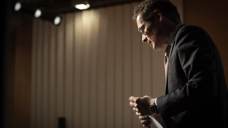 SVP-Nationalrat und «Weltwoche»-Chefredaktor Roger Köppel während seiner Rede an der SVP-Delegiertenversammlung.