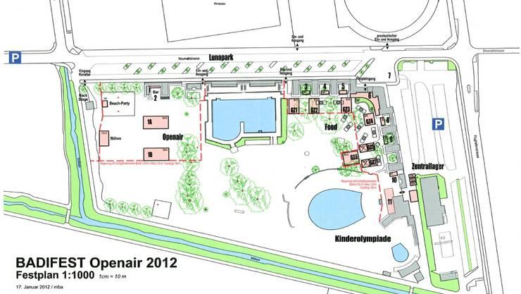 Die Skizze zeigt die Vielfältigkeit des geplanten Badi-Open-Airs.