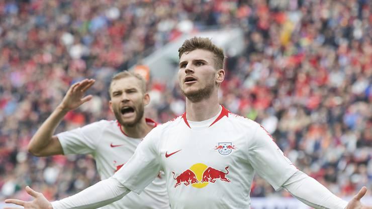Leipzigs Timo Werner nach seinem Tor zum 2:0 gegen Wolfsburg