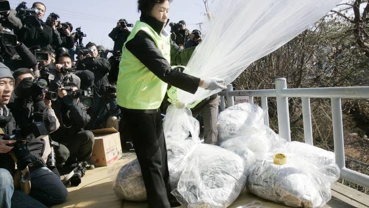 Aktivisten schicken per Ballon Flugblätter über die Grenze nach Nordkore (Archive)