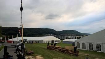 Am Freitagnachmittag beginnt das Turnfest in Stein. Bis dahin gibt es noch kleinere Aufbauarbeiten zu verrichten.