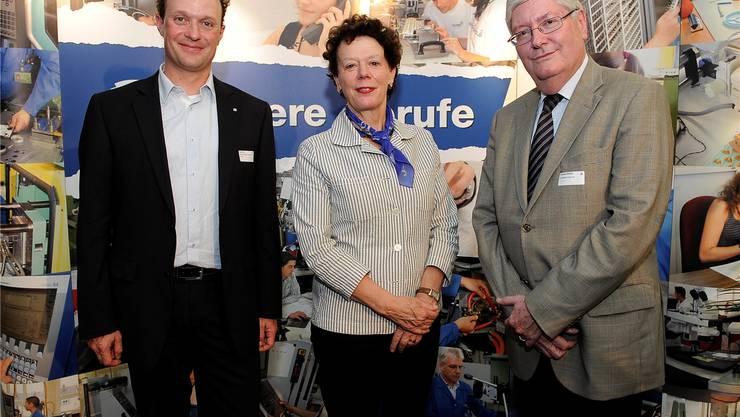 Sie eröffneten offiziell die IB Live 2014 in Grenchen (v.l.): Projektleiter Reto Kohli, Regierungsrätin Esther Gassler und Swatch-Konzernleitungsmitglied Hanspeter Rentsch. Hans Ulrich Mülchi