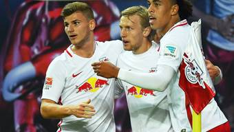 Die Leipziger Timo Werner, Emil Forsberg und Yussuf Poulsen durften schon in der 1. Halbzeit dreimal jubeln