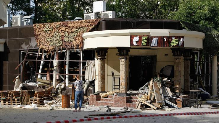 Das Café «Separ» in Donezk: Hier starb am Freitag Separatistenführer Sachartschenko durch eine Bombe.