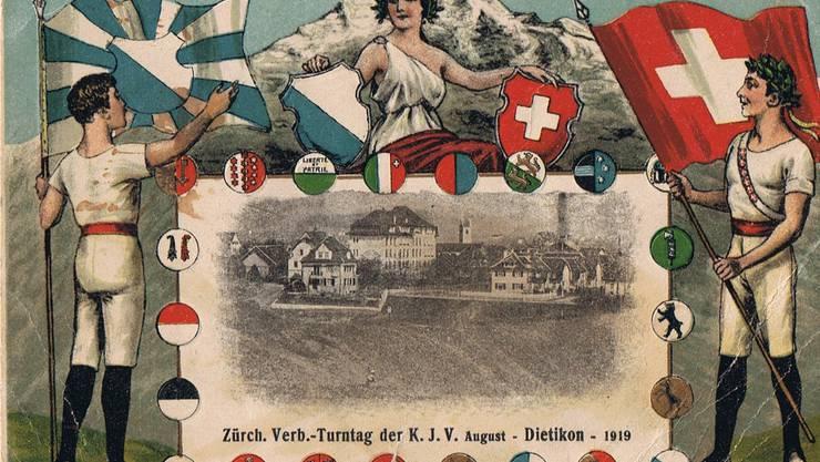 Die aufwändig gestaltete Karte zum ersten Turntag 1919.