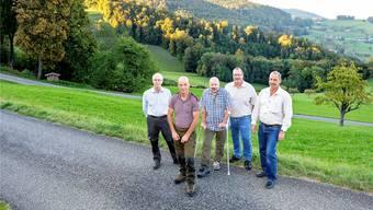 Sie gehören alle der ausgezeichneten Projektgemeinschaft Goldseileren an (von links): Thomas Mosimann, André Minnig, Urs Moritz, Martin Rebmann, Ernst Moritz