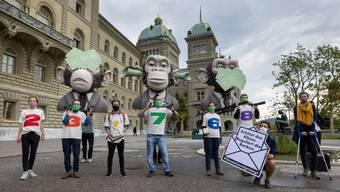 Aktivisten übergaben in Bern 23'000 Unterschriften, um ihrer Forderung nach einem klimafreundlichen Finanzplatz Nachdruck zu verleihen.