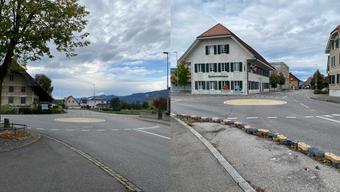 Hier sieht man die beiden provisorischen Kreiseln in Deitingen.