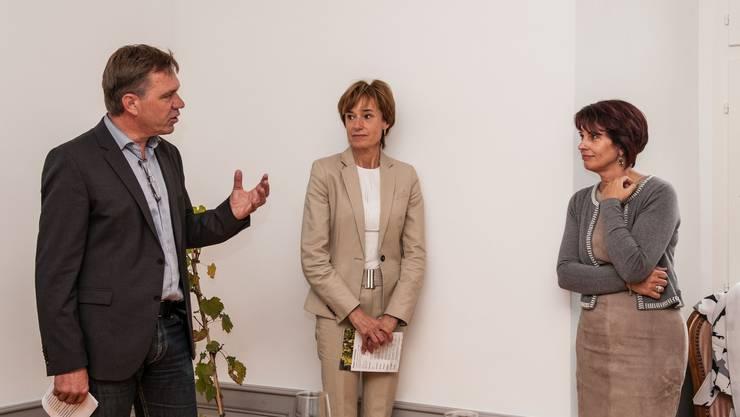 Andreas Meier und Ruth Humbel im Gespräch mit Bundesrätin Doris Leuthard