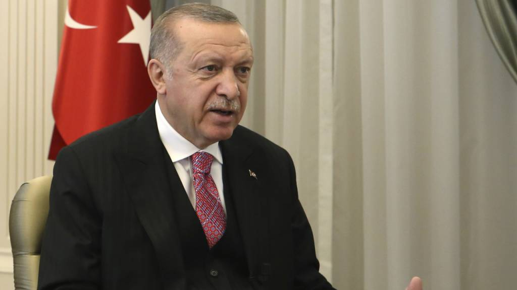HANDOUT - Recep Tayyip Erdogan, Präsident der Türkei,  hat eine strenge Kontrolle von sozialen Medien angekündigt. Foto: -/Turkish Presidency/AP Pool/dpa - ACHTUNG: Nur zur redaktionellen Verwendung im Zusammenhang mit der aktuellen Berichterstattung und nur mit vollständiger Nennung des vorstehenden Credits
