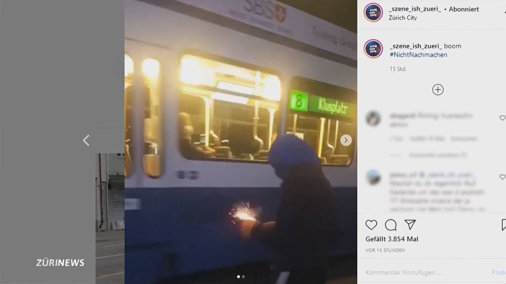 Vermummter wirft brennenden Böller in 8er Tram