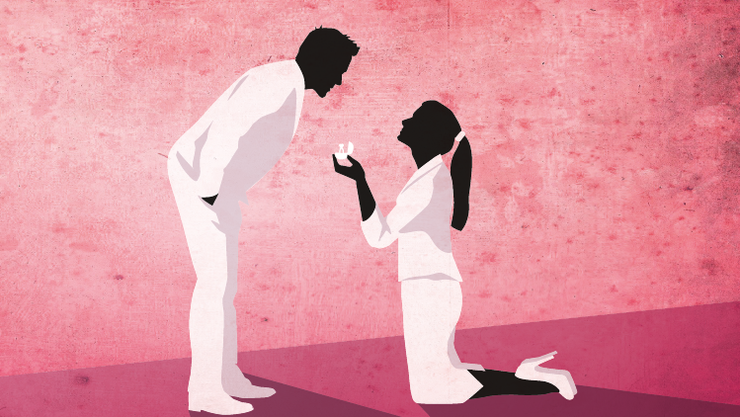 Meist sind es die Männer, die auf Knien um die Hand ihrer Liebsten anhalten.