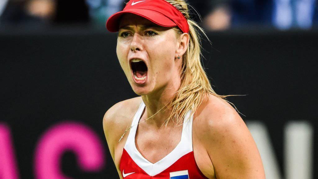 Maria Scharapowa sicherte Russland im Fedcup-Final in Prag den ersten Punkt und damit den Ausgleich nach dem ersten Tag