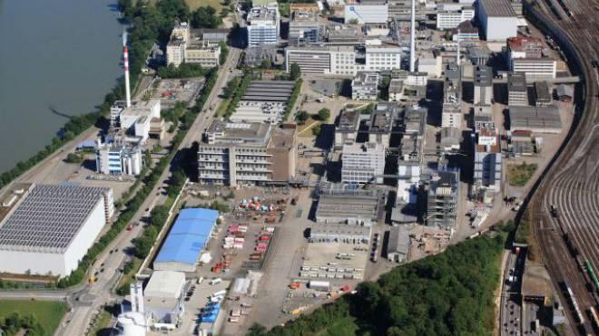 Die grauen Flachdächer sollen ergrünen: Die Gemeinde Muttenz will die Industriefirmen von Schweizerhalle zum Umdenken bewegen. Foto: Erich Meyer