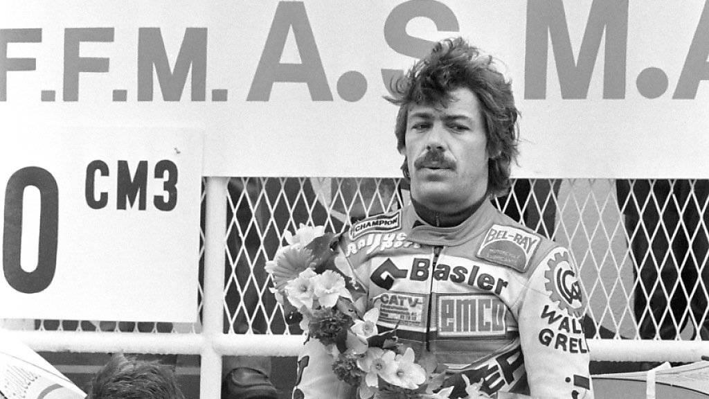 Stefan Dörflinger nach seinem Sieg in der 50-ccm-Klasse am 4. April 1983 in Le Mans