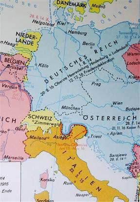 Ausschnitt aus dem deutschen Putzger-Mittelschulatlas über den Ersten Weltkrieg 1915. – Dieser wurde in den 1960er-Jahren auch in der Schweiz verwendet.