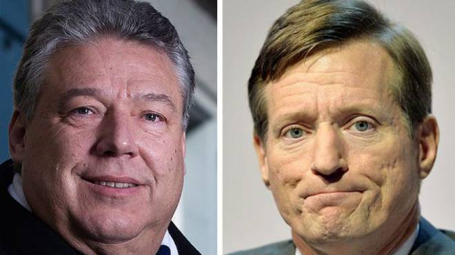 Links: Filippo Lombardi, CVP. Rechts: Brady Dougan, Chef der CS.