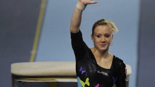Die Schweizerin Ariella Käslin freut sich über ihre Leistung