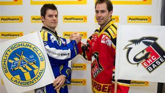 Kanadische Angelegenheit: Ligatopskorer Jeff Campbell (links) und Basels Top-Punktesammler Jonathan Roy freuen sich auf spannende Duelle in den Viertelfinals. Keystone/Bieri