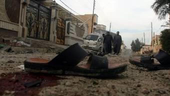 Blutspuren in Falludschah nach einem Luftangriff der Armee