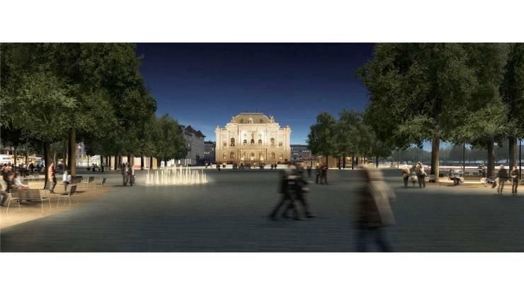 Ein neuer, vergrösserter Sechseläutenplatz aus Valser Quarzit, mit beleuchtetem Wasserspiel und Baumgruppen.