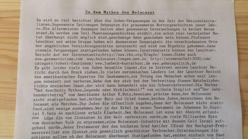 Dieser Flyer wurde in mehrere Briefkästen in Kreuzlingen verteilt.