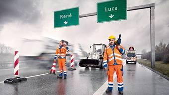 René und Luca riskieren tagtäglich ihr Leben: Bauarbeiter fordern mit einer Kampagne mehr Schutz im Strassenverkehr