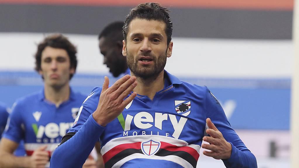 Antonio Candreva erzielte gegen seinen früheren Klub Inter Mailand zum 1:0 für Sampdoria Genua.