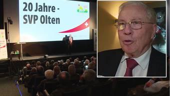 Zum 20-jährigen Jubiläum der SVP Olten hat Christoph Blocher im Kino `Palace` über die Schweizer Politik referiert.