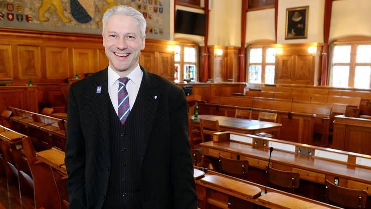 Roger Bartholdi im Rathaus: Seit 2002 politisiert er im Gemeinderat.