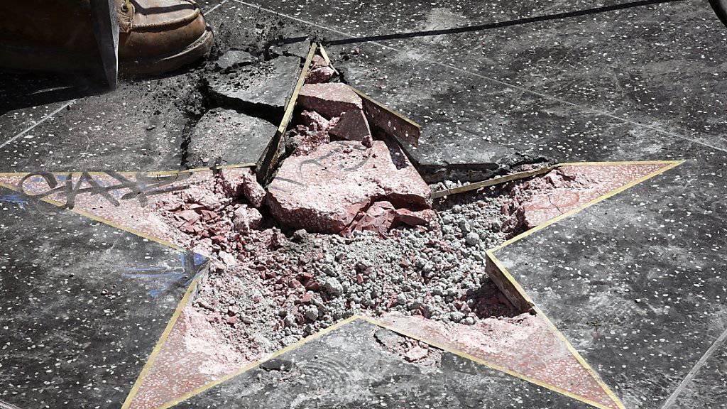 """Donald Trumps Stern auf dem """"Walk of Fame"""" in Hollywood wurde im vergangenen Juli zerstört. (Archivbild)"""