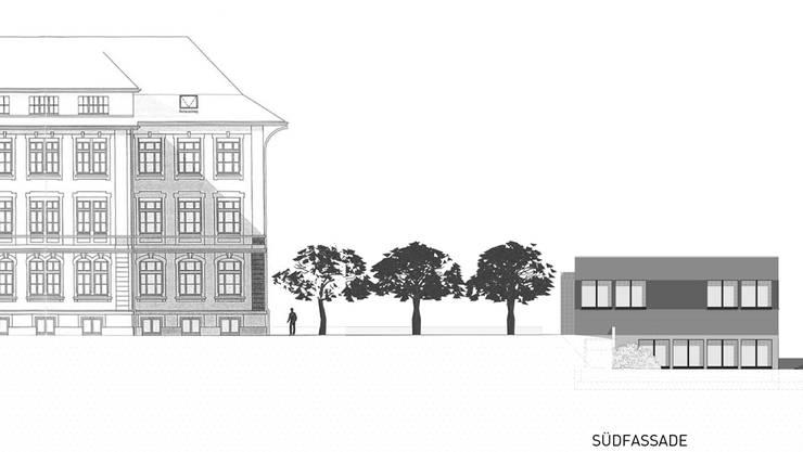 So sieht die Ansicht des Pavillons (rechts) von Süden aus.